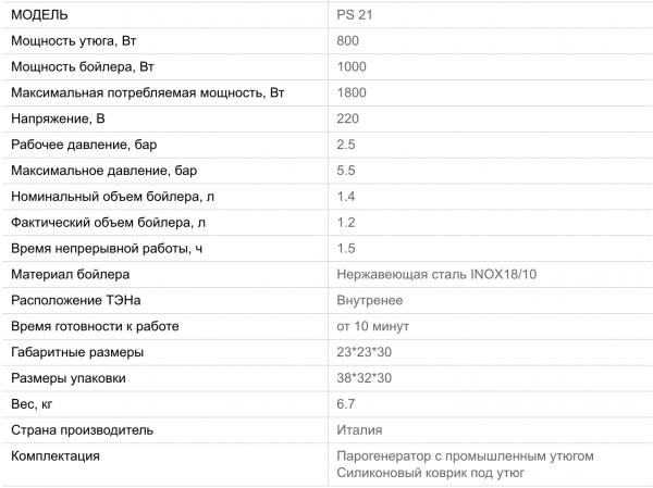 Парогенератор Lelit PS-21
